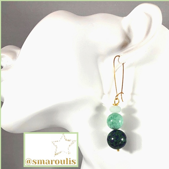 Frontrow.style Jewelry - Sterling Silver Earrings Amazonite GF KidneyWire